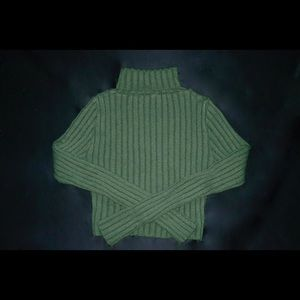 Super Soft Green Crop Turtleneck Sweater